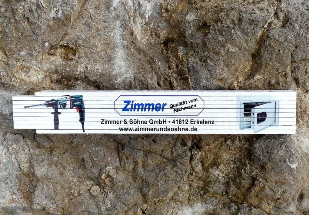 Werbedruck Fotodruck auf Zollstock - Gliedermasstab - Meterstab